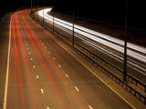 Light Trails on M25 Motorway at Night, Near London, England, UK, Europe Photographic Print by Ian Egner