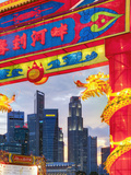City Financial Skyline, River Hongbao Decorations for Chinese New Year Celebrations, Singapore Photographic Print by Gavin Hellier
