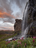 Alpine Waterfall with Wildflowers at Sunset, San Juan National Forest, Colorado, USA, North America Photographic Print by James Hager