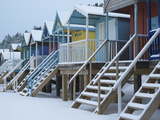 Beach Huts in the Snow at Wells Next the Sea, Norfolk, England Photographic Print by Jon Gibbs