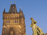 Old Town Bridge Tower and Baroque St Ivo Statue, UNESCO World Heritage Site, Prague, Czech Republic Photographic Print by Richard Nebesky