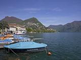 Lakeside in Sunshine, City of Lugano, Lake Lugano, Ticino, Switzerland, Europe Photographic Print by Peter Barritt