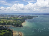 Aerial View of Yachts Racing in Cowes Week on the Solent, Isle of Wight, England, UK, Europe Photographic Print by Peter Barritt