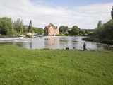 Man Fishing by Cropthorne Mill on River Avon at Fladbury, Vale of Evesham, Worcestershire, England Photographic Print by Ian Murray