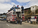 Chicken Bus, Chichicastenango Market, Chichicastenango, Guatemala, Central America Photographic Print by Antonio Busiello