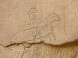 Soldier on Horse Petroglyph, Chaco Culture Nat'l Historical Park, UNESCO World Heritage Site, USA Fotografie-Druck von James Hager