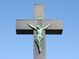 Crucifix, Vysehrad Cemetery, Prague, Czech Republic, Europe Photographic Print by  Godong