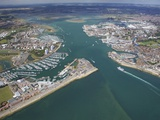 Aerial View of Portsmouth Harbour and the Solent, Hampshire, England, United Kingdom, Europe Photographic Print by Peter Barritt