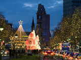 Christmas Lights Leading Up to the Kaiser Wilhelm Memorial Church, Berlin, Germany, Europe Photographic Print by Stuart Black