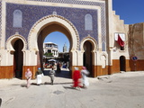 Entrance to the Medina, Souq, Bab Boujeloud (Bab Bou Jeloud) (Blue Gate), Fez, Morocco Photographic Print by Gavin Hellier