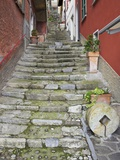 Medieval Cobbled Back Streets of Varenna, Lake Como, Lombardy, Italy, Europe Photographic Print by Peter Barritt