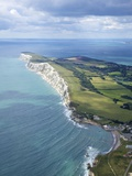 Aerial View of Freshwater Bay Looking to the Needles, Isle of Wight, England, UK, Europe Photographic Print by Peter Barritt