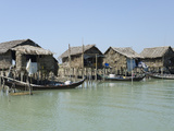 Bamboo Huts and Boats Along a Waterway, Irrawaddy Delta, Myanmar (Burma), Asia Photographic Print by Eitan Simanor