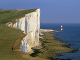 Beachy Head Lighthouse and Chalk Cliffs, Eastbourne, East Sussex, England, United Kingdom, Europe Fotodruck von Stuart Black