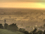 View of Glastonbury During Sunset from Glastonbury Tor, Somerset, England, United Kingdom, Europe Photographic Print by Sara Erith