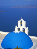 Church with Blue Dome Overlooking Aegean, Fira, Thira, Santorini, Cyclades, Greek Islands, Greece Photographic Print by  Tuul