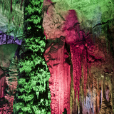 Light Show, Inside the Caves D'Arta, Llevant, Mallorca, Balearic Islands, Spain, Europe Photographic Print by Andrew Stewart