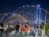 The Helix Bridge at Marina Bay and Singapore Flyer, Singapore, Southeast Asia, Asia Photographic Print by Gavin Hellier