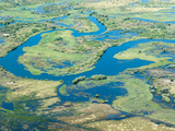 Aerial View of Floodplains, Water Channels, and Islands, Zambezi and Chobe Rivers, Namibia Photographic Print by Kim Walker
