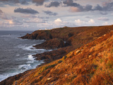 Looking Towards Pendeen Lighthouse and Watch on the Cornish Coastline, Cornwall, England, UK Photographic Print by Julian Elliott