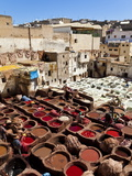 Chouwara Traditional Leather Tannery, Vats for Leather Hides and Skins, Fez, Morocco Photographic Print by Gavin Hellier