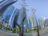 Skyscrapers of the Financial Centre and Modern Sculptures, Singapore, Southeast Asia, Asia Photographic Print by Gavin Hellier