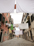 Washing Line Geometry in the Streets of Castello, Venice, Veneto, Italy, Europe Fotografisk tryk af Oliviero Olivieri