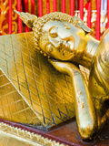 Gold Leaf Reclining Buddha at Wat Doi Suthep Temple, Chiang Mai, Thailand, Southeast Asia, Asia Photographic Print by Matthew Williams-Ellis