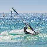 Windsurfer Riding Wave, Bonlonia, Near Tarifa, Costa de La Luz, Andalucia, Spain, Europe Papier Photo par Giles Bracher