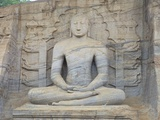 Buddha in Meditation, Gal Vihara Rock Temple, Polonnaruwa, Sri Lanka, Asia Photographic Print by Peter Barritt