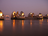 Thames Barrier and Canary Wharf at Dawn, London, England, United Kingdom, Europe Photographic Print by Sara Erith