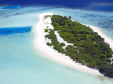 Aerial View of a Desert Island, Maldives, Indian Ocean, Asia Photographic Print by Sakis Papadopoulos