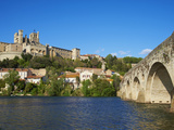 Cathedral Saint-Nazaire and Pont Vieux (Old Bridge) over River Orb, Beziers, Herault, France Photographic Print by  Tuul