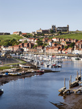 Whitby and the River Esk from the New Bridge, Whitby, North Yorkshire, Yorkshire, England, UK Photographic Print by Mark Sunderland