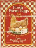 Fresh Farm Eggs Panneau en bois