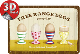 Free Range Eggs Tin Sign