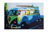 The Blue Volkswagen Surf Bus Premium Giclee Print by Markus Bleichner