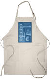 San Francisco, CA, Golden Gate Bridge Technical Blueprint Apron Apron