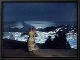 Summer Night, 1890 Leinwandtransfer mit Rahmung von Winslow Homer