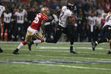 Super Bowl XLVII: Ravens vs 49ers - Jacoby Jones and Tramaine Brock Photographic Print by Ben Liebenberg