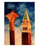 Venice Campanile with Lion Premium Giclee Print by Markus Bleichner