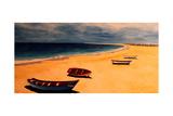 Boavista - Capo Verde Beach and Boats Premium Giclee Print by Markus Bleichner