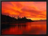 Sunset, Sierra Mountains, Lake Tahoe, CA Innrammet lerretstrykk av Kyle Krause