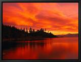 Sunset, Sierra Mountains, Lake Tahoe, CA Framed Canvas Print by Kyle Krause