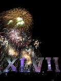 Super Bowl XLVII: Ravens vs 49ers - Fireworks Fotografisk trykk av Charlie Riedel