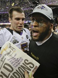 Super Bowl XLVII: Ravens vs 49ers - Joe Flacco and Ray Lewis Photographic Print by Patrick Semansky
