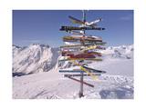 Worldwide Signpost in Ischgl, Austria Premium Giclee Print by Martina Bleichner
