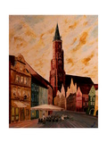 Landshut St Martin Church with Old Town Premium Giclee Print by Markus Bleichner