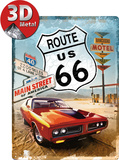 Route 66 Red Car Metalen bord
