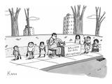 "A man holding a syringe sits at a stand with a sign that reads, ""Balloon A… - New Yorker Cartoon Premium Giclee Print by Zachary Kanin"